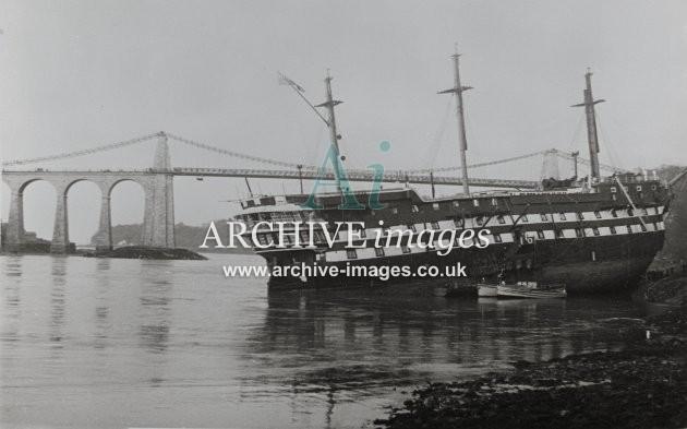 HMS Conway aground in Menai Straits