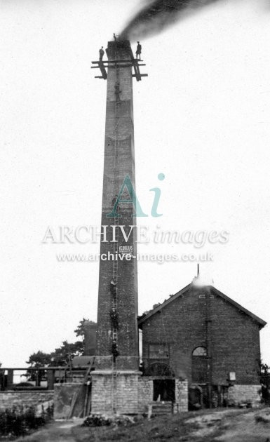 Somerset Colliery Chimney, Steeplejacks At Work c1920