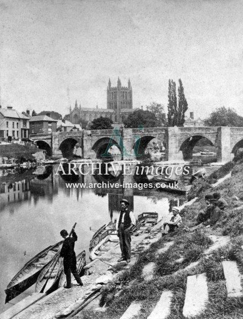 Hereford, River Wye Bridge & Cathedral c1860