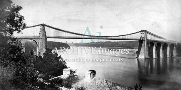 Menai Straits & Suspension Bridge c1860