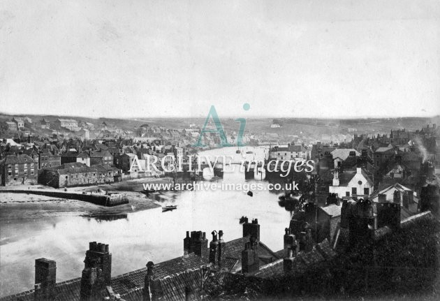 Whitby Harbour & Town Bridge c1865
