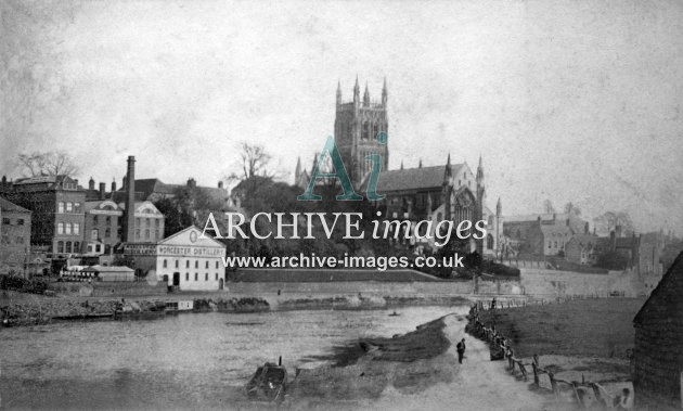 Worcester Distillery & Cathedral c1860