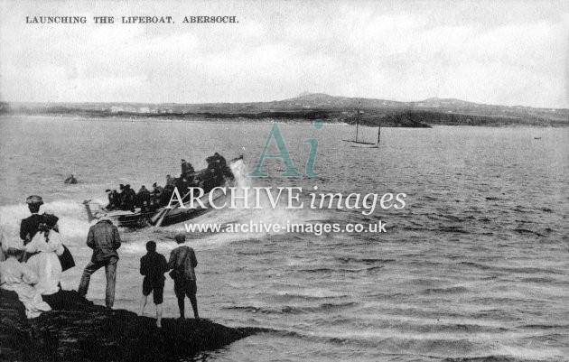 Abersoch lifeboat, launching c1908