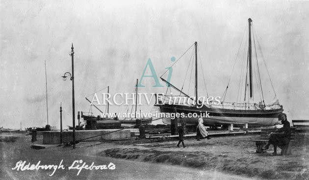 Aldeburgh lifeboats on the beach c1910