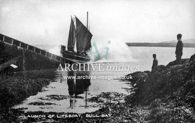 Amlwch, Bull Bay lifeboat launch c1910