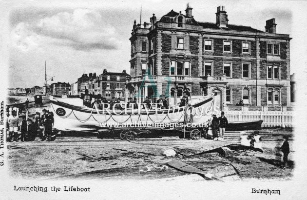 Burnham on Sea, launching lifeboat c1900