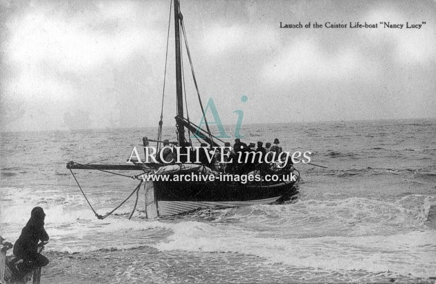 Caister lifeboat, launch of Nancy Lucy c1905