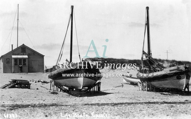 Caister lifeboats Nos 1 & 2 and lifeboat house c1930