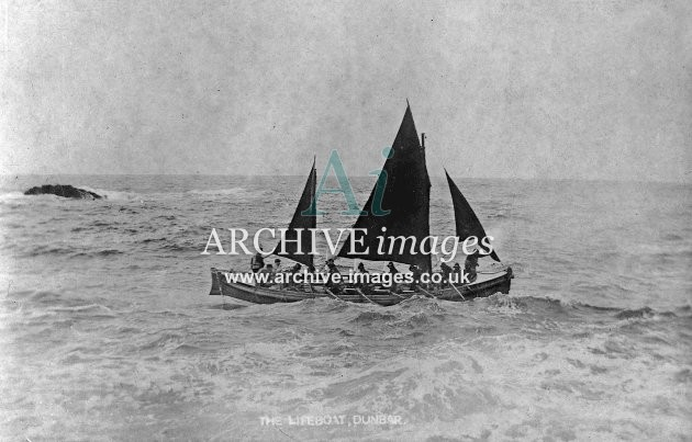 Dunbar lifeboat with sails up c1910
