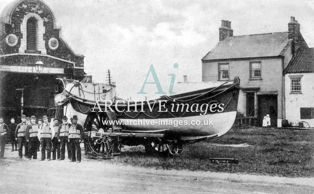 Seaton Carew lifeboat, crew & house c1905
