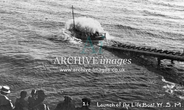 Weston Super Mare, lifeboat launch c1910