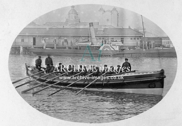 Weymouth lifeboat & crew in harbour c1905