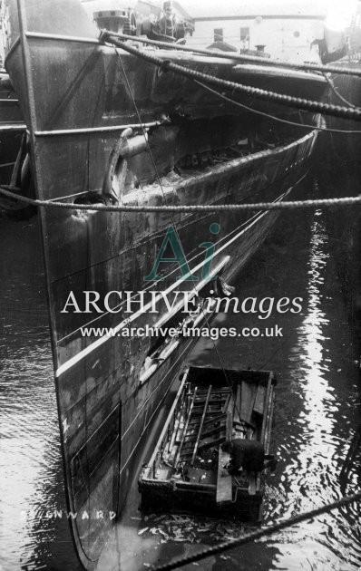 Damaged paddle steamer Onward, Dover c1907