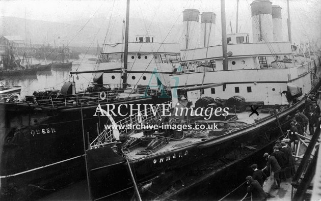 Damaged paddle steamers Onward & The Queen at Dover c1907