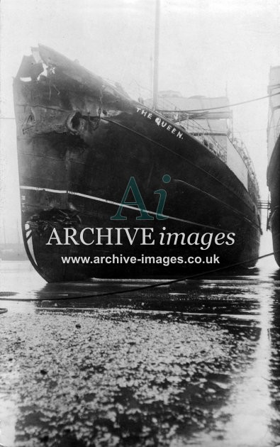 Damaged paddle steamer The Queen, Dover c1907
