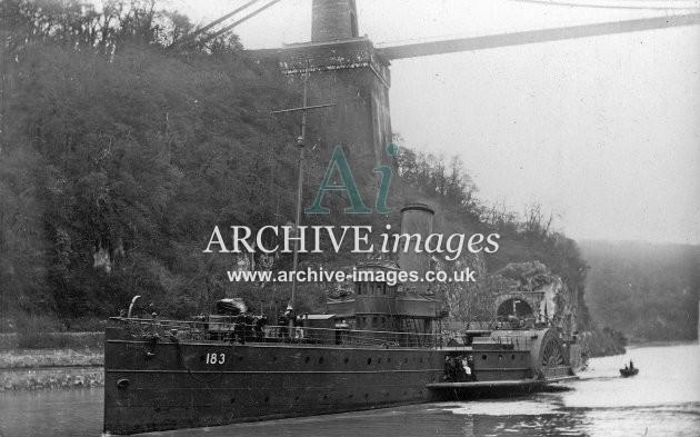 PS Cambria in WW1 grey, Clifton suspension bridge c1919