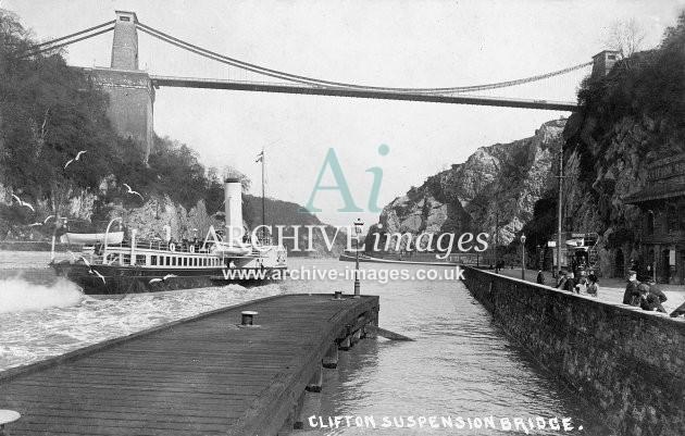 PS Westward Ho, P & A Campbell, Clifton suspension bridge & Hotwells pier c1908