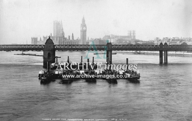 River Thames, Hungerford bridge & paddle steamers c1885