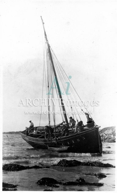 Scilly isles St Marys French crabber Camaret waiting for tide to refloat CMc