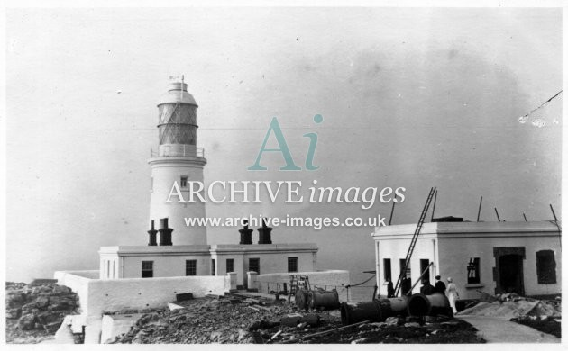 Scilly isles Round Island Lighthouse wireless station under construction 1912 CMc