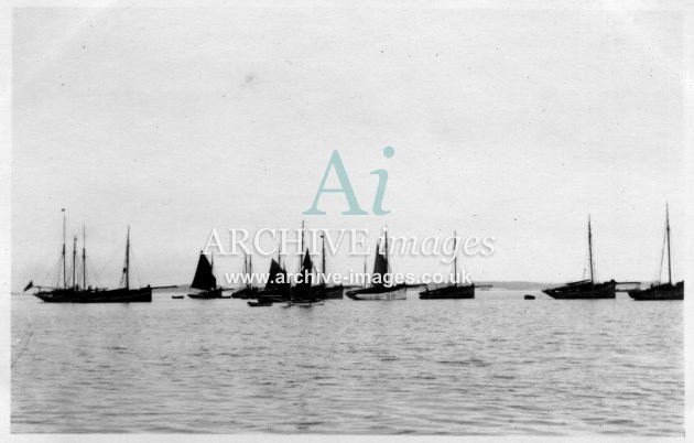 Scilly Isles St Marys 1912 French crabbers Molls boat in foreground CMc