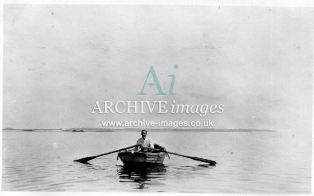 Scilly isles T CLarke in row boat 1912 CMc