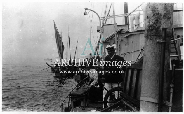 Scilly isles St Agnes Plympton wreck 14 Aug 1909 NC and Capt Brady before sinking CMc