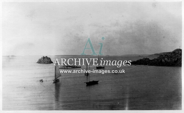 Scilly Isles Gugh and the Cow with Govenors yawl 1912 CMc