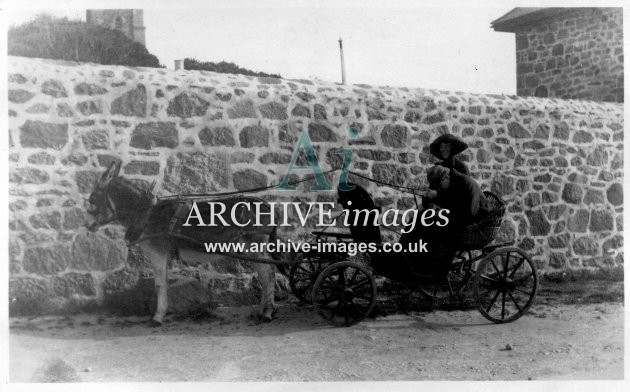 Scilly isles St martins donkey cart N and Mr Chick 1912 CMc