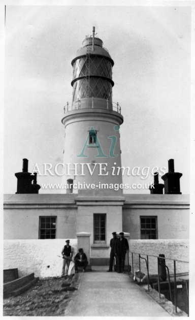 Scilly isles Round Island Lighthouse workmen 1912 CMc