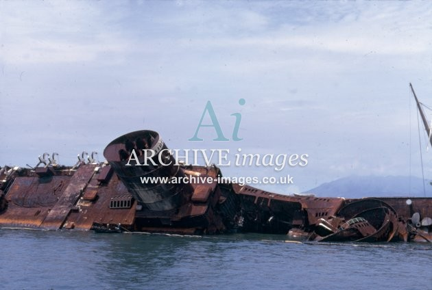 CUnard RMS Queen Elizabeth burned out in Hong Kong harbour 1972 CMc