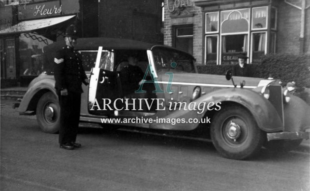 Motoring Hermann Goering Mercedes Benz 500 cabriolet with two policemen 1946 CMc