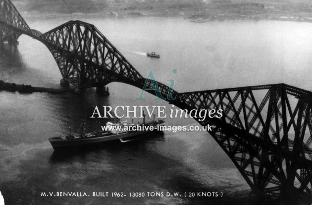 West Lothian Ben Line Benvalla at Forth railway bridge c1960 CMc