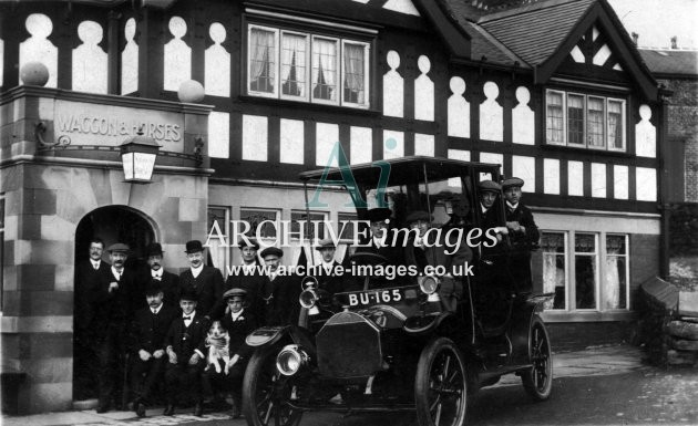 Motoring Birmingham Taxi outside Waggon and Horses pub probably Worcestershire c1912 CMc