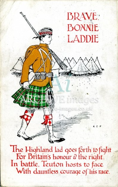 World War One comic Brave Highland Lad postcard CMc
