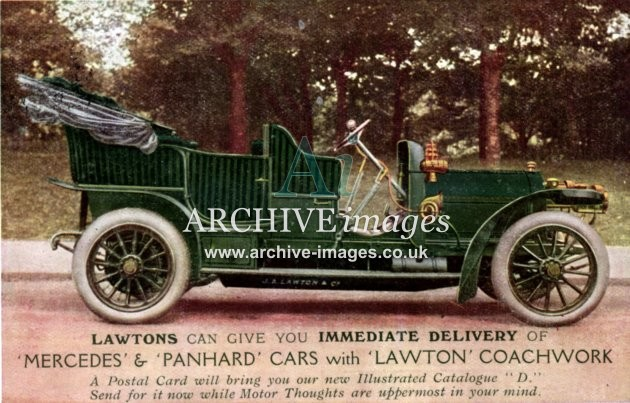 Motoring vintage Lawton Mercedes and Panhard cars c1910 CMc