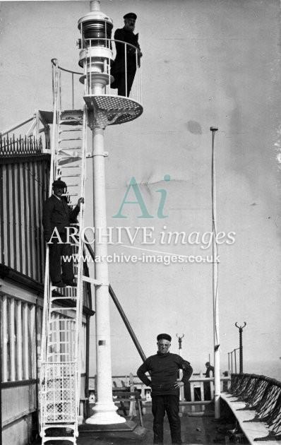 Kent Deal end of pier lighthouse c1910 CMc