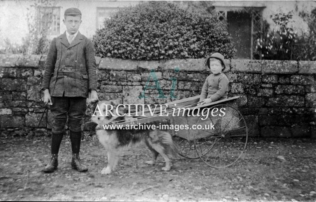 Dogs Border Collie and dog kart unknown location c1910 CMc