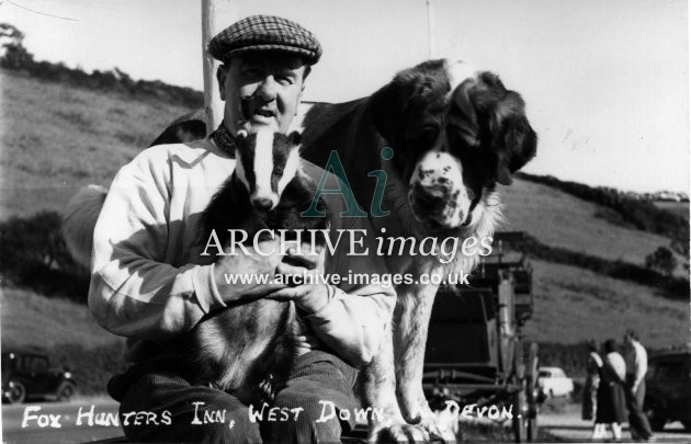 Devon Fox Hunters Inn West Down badger and border collie c1950 CMc