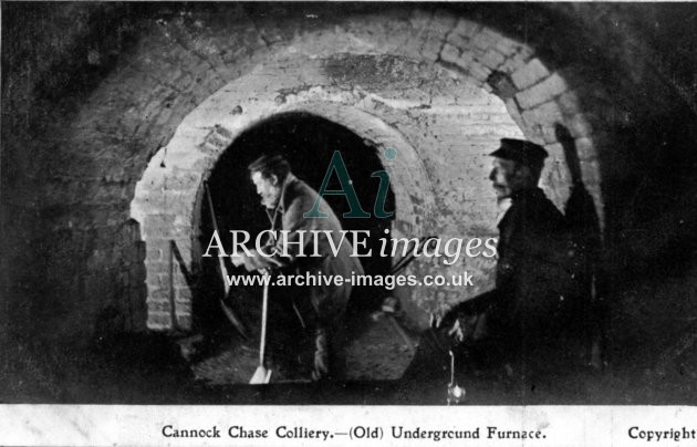 Staffordshire Mining Cannock Chase colliery old underground furnace c1905 Cmc