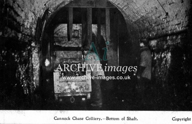 Staffordshire Mining Cannock Chase colliery bottom of shaft c1905 Cmc