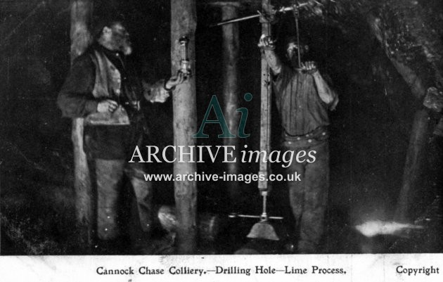 Staffordshire Mining Cannock Chase colliery drilling holes lime process c1905 CMc
