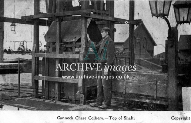 Staffordshire Mining Cannock Chase colliery  top of shaft c1905 CMc