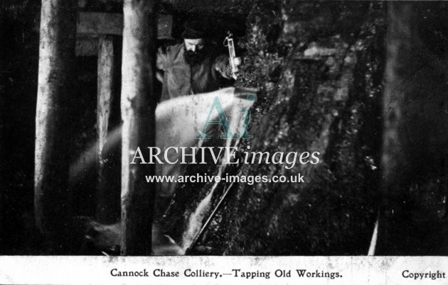 Staffordshire Mining Cannock Chase colliery tapping old workings c1905 CMc