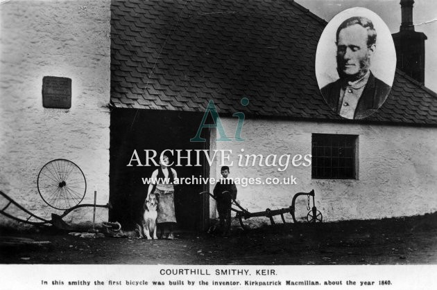 Dumfries cycling Courthill Smithy at Keir Kirkpatrick Macmillan bicycle c1905 CMc
