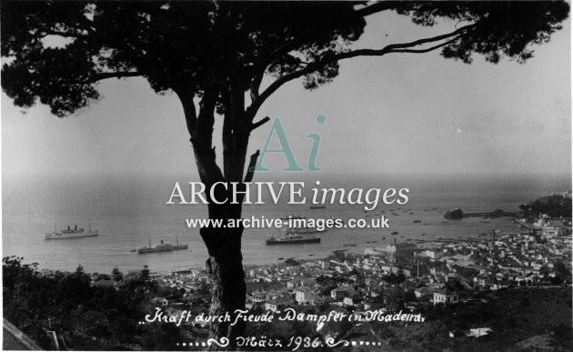 Shipping Strength Through Joy Nazi german Kraft Durch Freude ships Madeira 1936 CMc