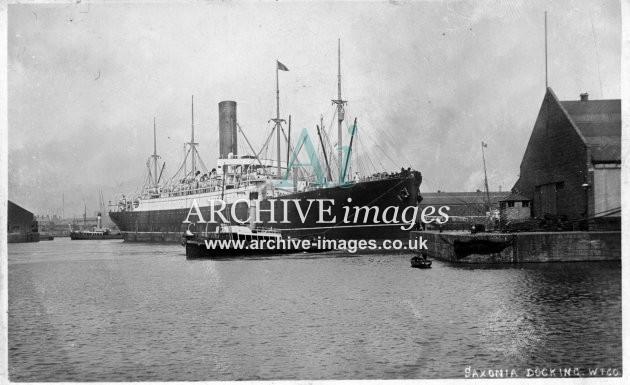 Shipping Cunard RMS Saxonia docking Liverpool Docks Mersey c1906 CMc
