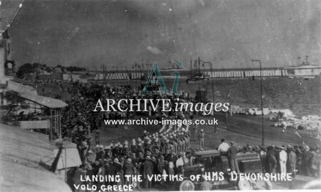 Naval HMS Devonshire landing victims Volo Greece 1929 after blow up of turret CMc