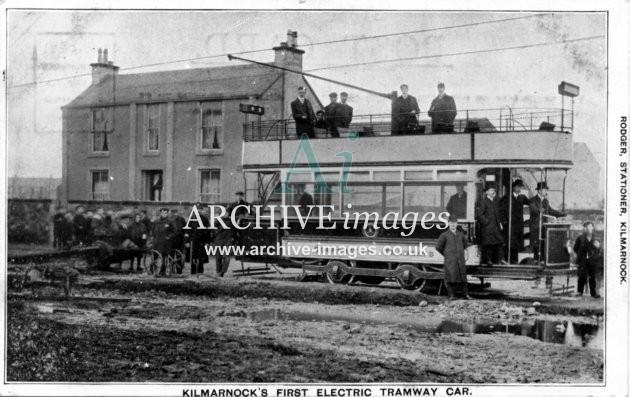 Ayrshire Tramways Kilmarnock first electric tram car c1904 CMc