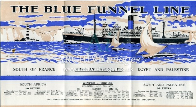 Blue Funnel Line Holidays at Sea poster 1931 B CMc